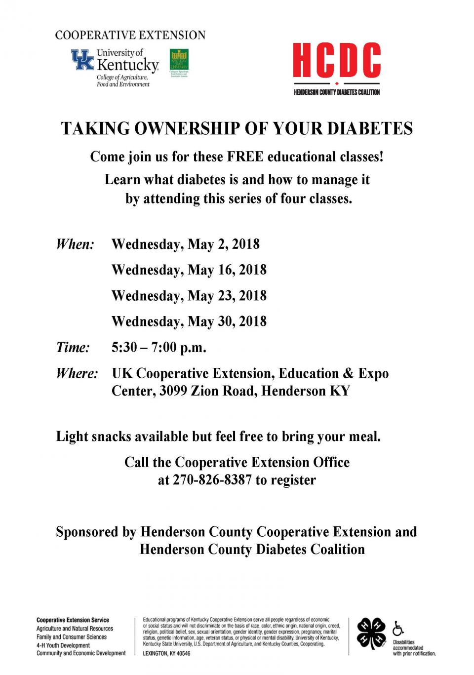 Taking Ownership of Your Diabetes! May 2, 16, 23, 30 - Call 270-826-8387.